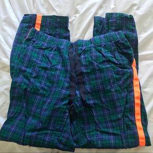 AERIE plaid pajama pants with orange racing stripe